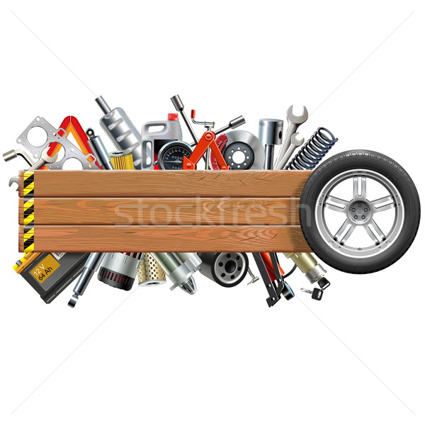 Vector Board with Wheel and Car Spares Stock photo © dashadima