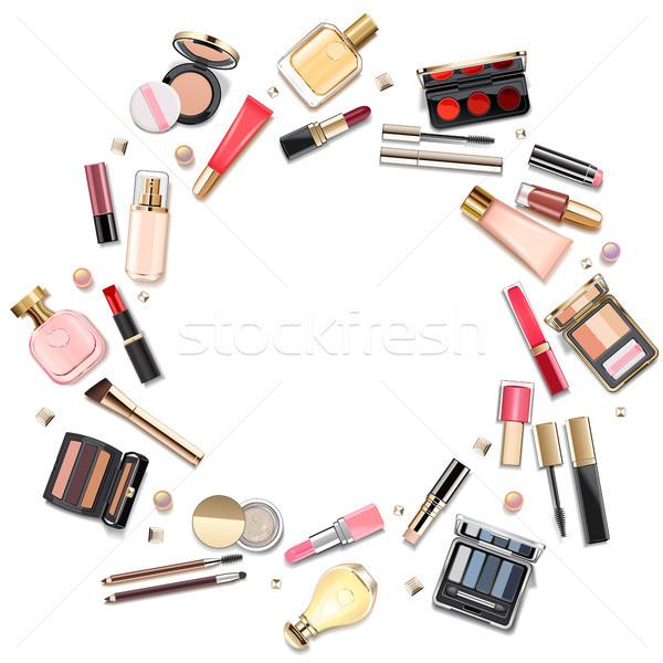 Vector Round Makeup Cosmetics Concept Stock photo © dashadima