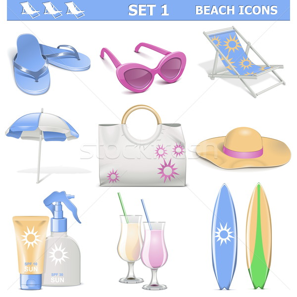 Vector Beach Icons Set 1 Stock photo © dashadima