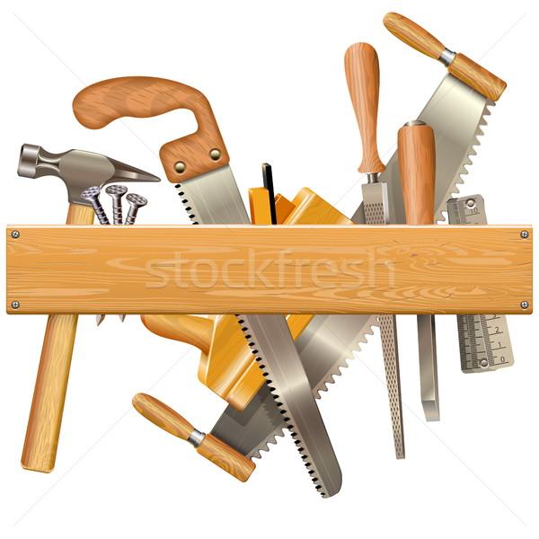 Vector Wooden Plank with Retro Tools Stock photo © dashadima