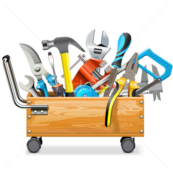 Vector Wooden Toolbox Trolley with Tools  Stock photo © dashadima