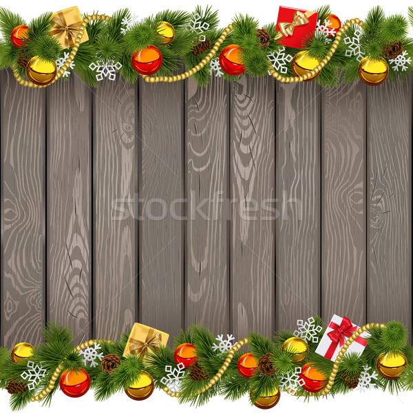 Vektor végtelenített karácsony öreg fa deszka izolált Stock fotó © dashadima