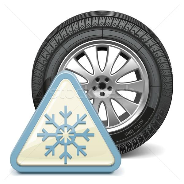 Vector Wheel with Snowflake Sign Stock photo © dashadima