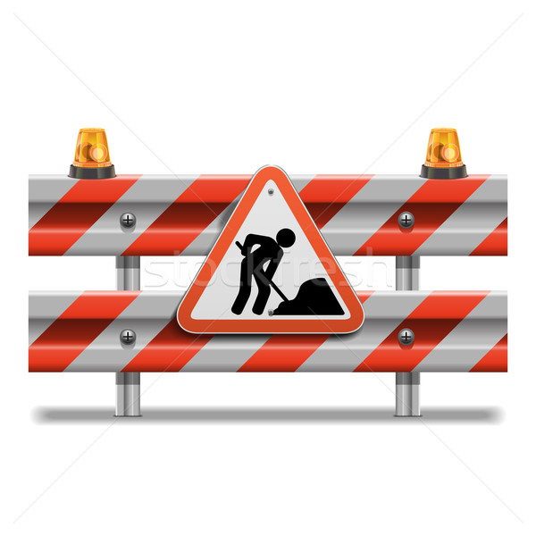 Vector Barrier with Sign and Beacon Stock photo © dashadima