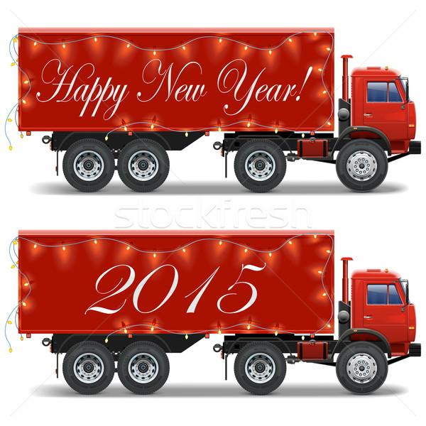 Vector Christmas Truck Stock photo © dashadima