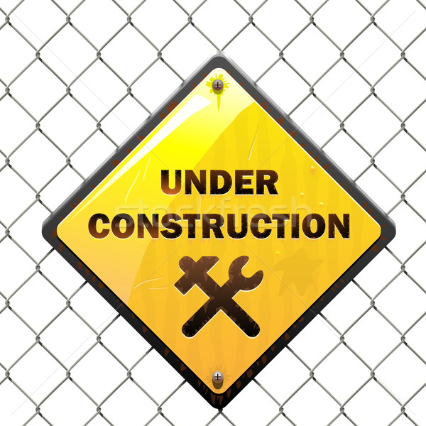 Stock photo: Vector Under Construction Sign with Mesh