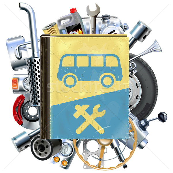 Vector Bus Repair Book with Car Spares Stock photo © dashadima