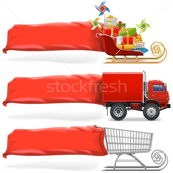 Foto stock: Vetor · transporte · bandeira · conjunto · isolado · branco