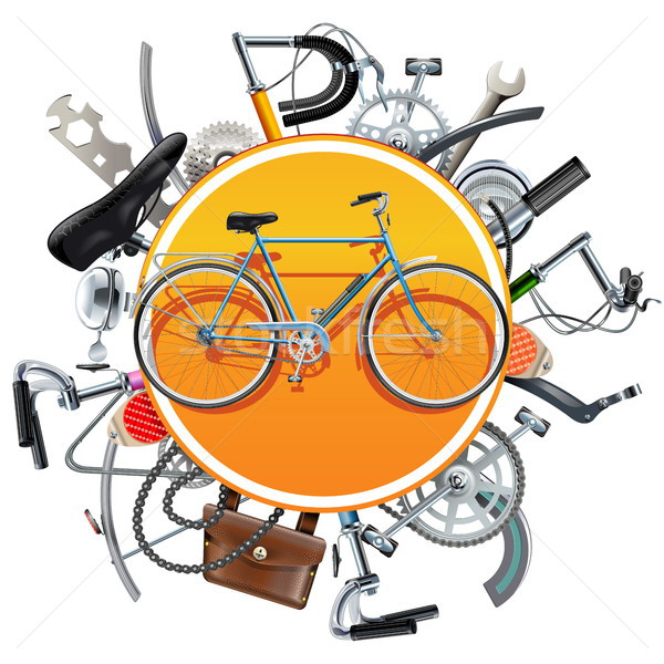 Vector Bicycle Spares Concept with Bike Stock photo © dashadima