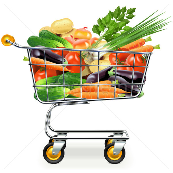 Vector Supermarket Trolley with Vegetables Stock photo © dashadima