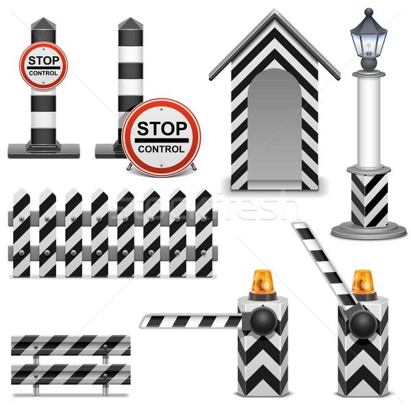 Vector Police Barrier Icons Stock photo © dashadima