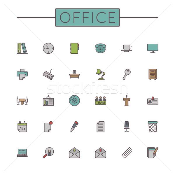 Vector Colored Office Line Icons Stock photo © dashadima