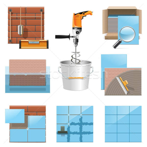 Vector Laying Tiles Icons Stock photo © dashadima