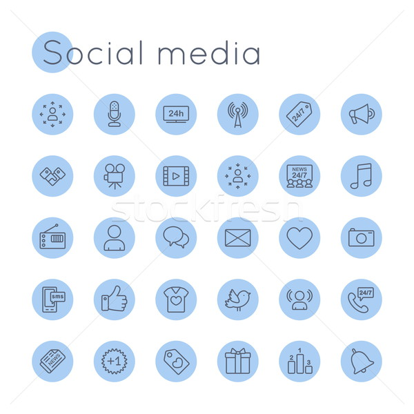 Vector Round Social Media Icons Stock photo © dashadima