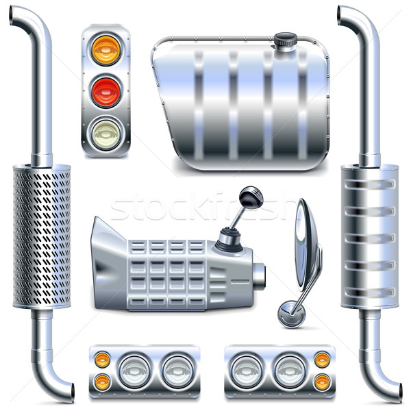 Vector Chromed Truck Parts Set 2 Stock photo © dashadima