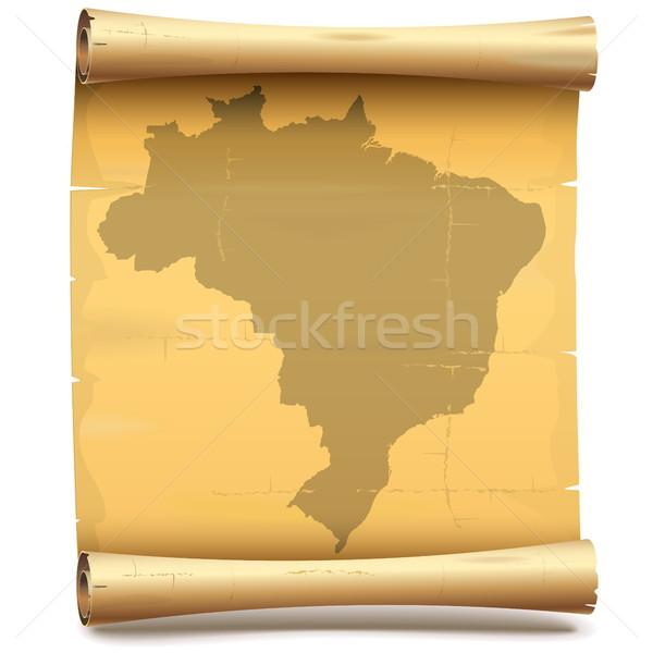 Vector papier scroll Brazilië geïsoleerd witte Stockfoto © dashadima