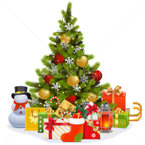 Vector Christmas Tree with Garland Stock photo © dashadima