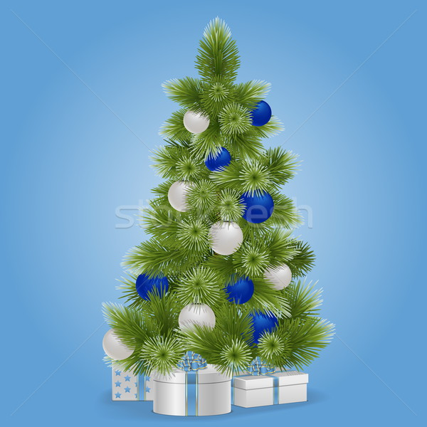 Vector Christmas Snowy Tree Stock photo © dashadima