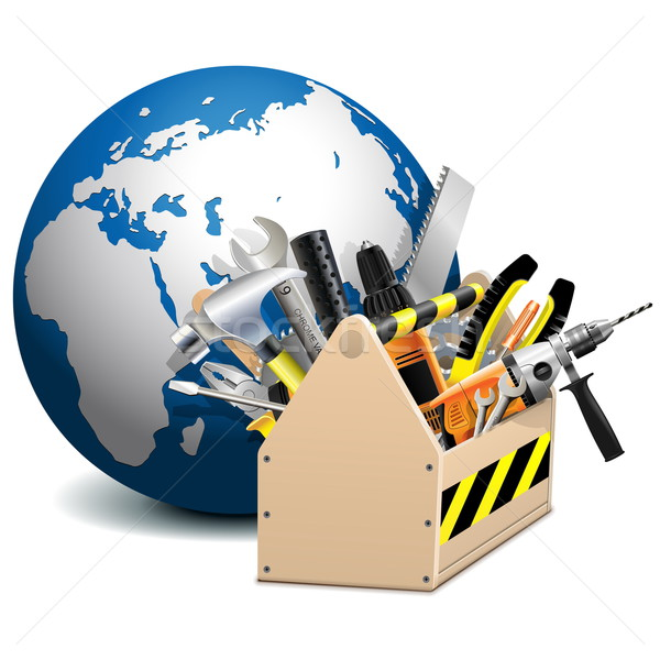 Stock photo: Vector Toolbox with Globe