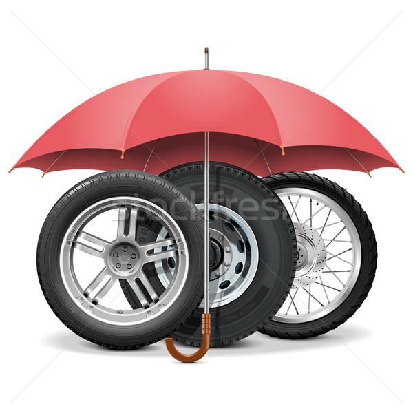 Vector wielen paraplu geïsoleerd witte vrachtwagen Stockfoto © dashadima
