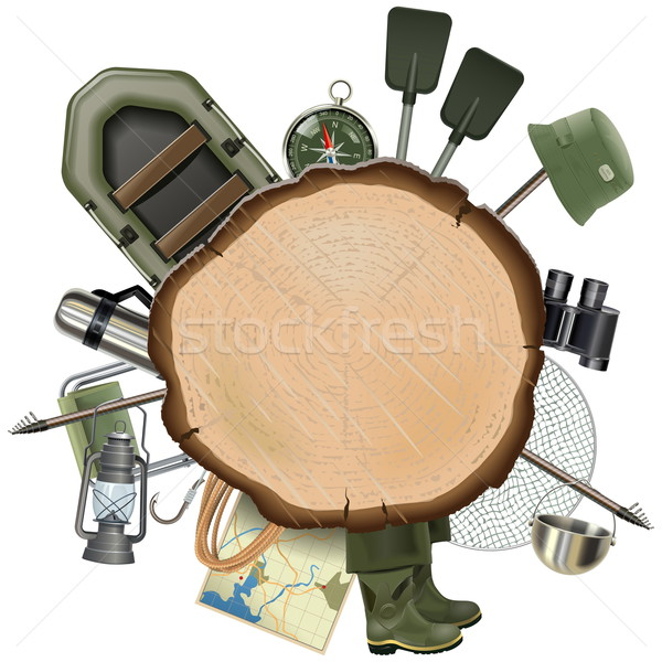 Vector Fishing Tackle with Wooden Board Stock photo © dashadima