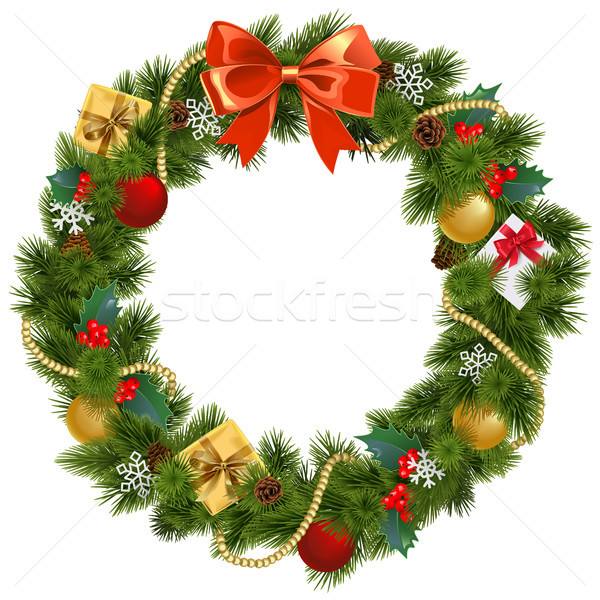 Stock photo: Vector Christmas Wreath with Mistletoe