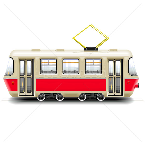Vector Red Small Tram Stock photo © dashadima
