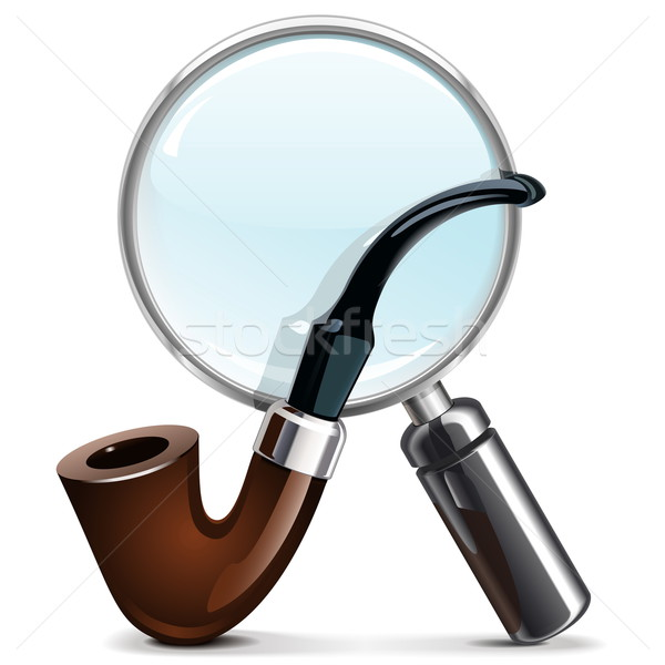 Vector Tobacco Pipe and Loupe Stock photo © dashadima