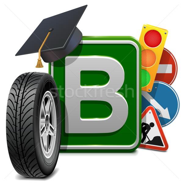Stockfoto: Vector · rijden · school · geïsoleerd · witte · weg