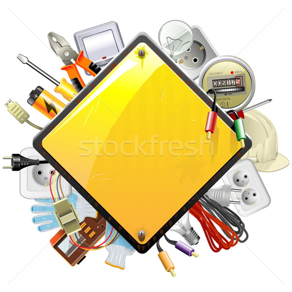 Vector Sign with Electric Accessories Stock photo © dashadima