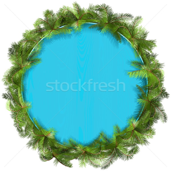 Vetor azul palmeira isolado branco Foto stock © dashadima