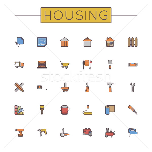 Vector Colored Housing Line Icons Stock photo © dashadima
