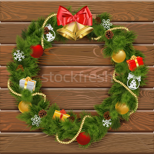 Vector Christmas Wreath on Wooden Board 2 Stock photo © dashadima