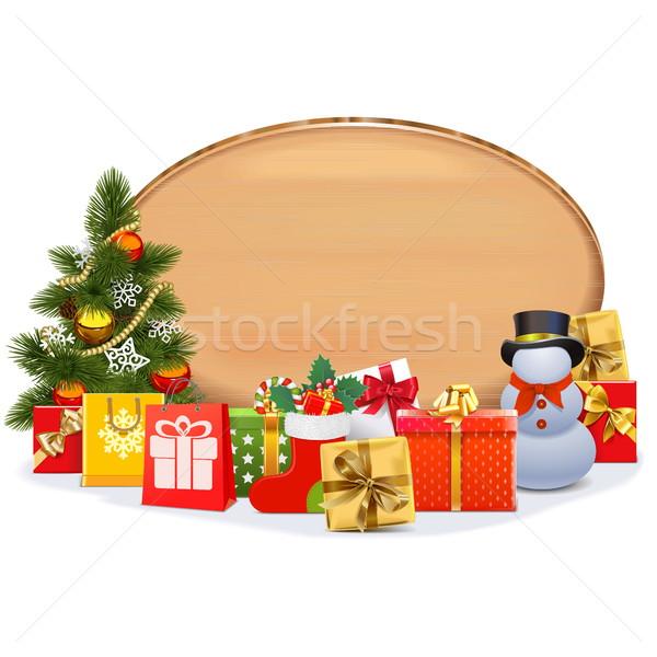 Vektör Noel hediyeler oval tahta yalıtılmış Stok fotoğraf © dashadima