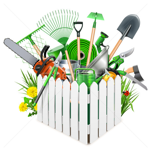 Vector White Wooden Fence with Garden Accessories Stock photo © dashadima
