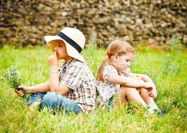 Little boy and little girl near the country house Stock photo © dashapetrenko