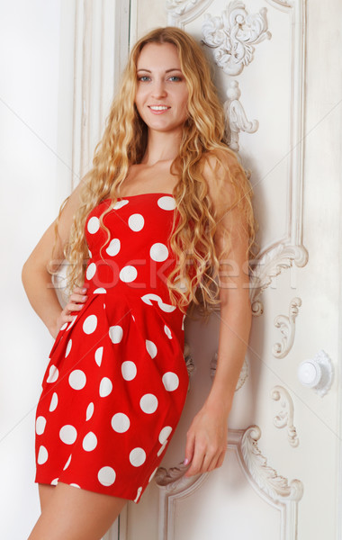 ストックフォト: 肖像 · 美しい · ブロンド · 少女 · 水玉模様 · ドレス