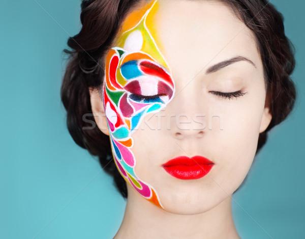 Belle jeunes modèle lumineuses composent portrait Photo stock © dashapetrenko