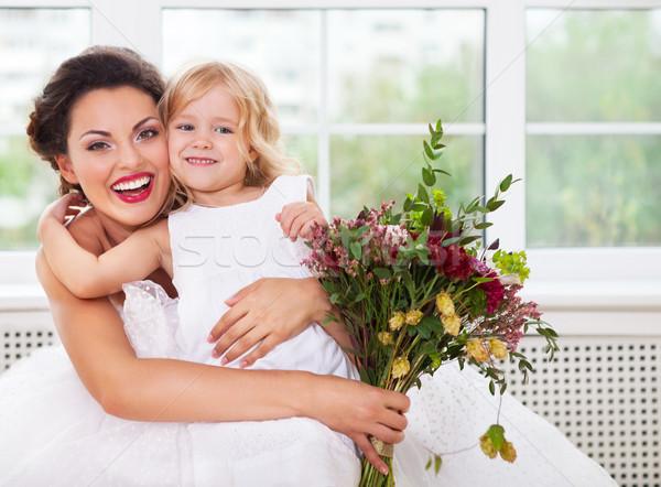 Foto stock: Sorridente · feliz · noiva · flor · menina