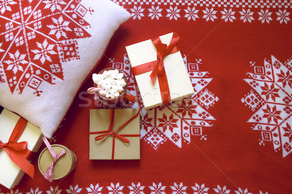 Christmas red and white background with gifts Stock photo © dashapetrenko