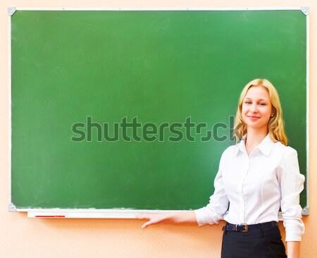 Student girl standing near blackboard in the classroom Stock photo © dashapetrenko