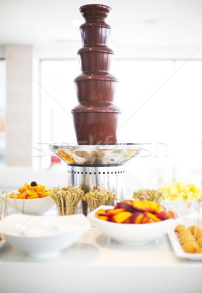 Chocolate fondue on the table Stock photo © dashapetrenko