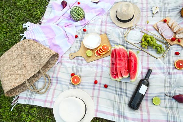 Picnic vino bianco erba verde alimentare party vino Foto d'archivio © dashapetrenko