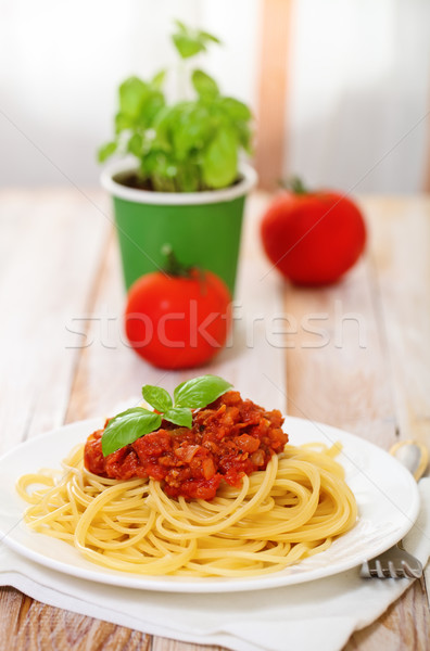 Stock photo: Spaghetti Bolognese on white plate
