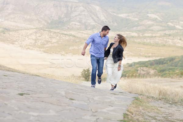 Belo feliz sorridente corrida casal amor Foto stock © dashapetrenko