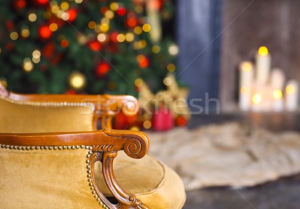 Stok fotoğraf: Noel · sahne · sandalye · ağaç · hediyeler · şömine