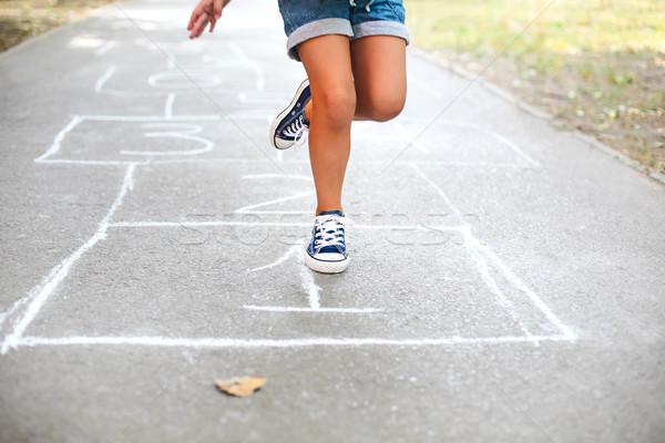 Kid giocare parco giochi esterna bambini outdoor Foto d'archivio © dashapetrenko