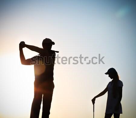 мужчины гольфист закат играет гольф человека Сток-фото © dashapetrenko