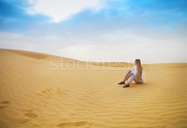 красоту женщину пустыне Сахара текстуры Сток-фото © dashapetrenko
