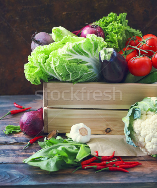 Organikus nyers fából készült doboz egészséges étrend táplálkozás Stock fotó © dashapetrenko